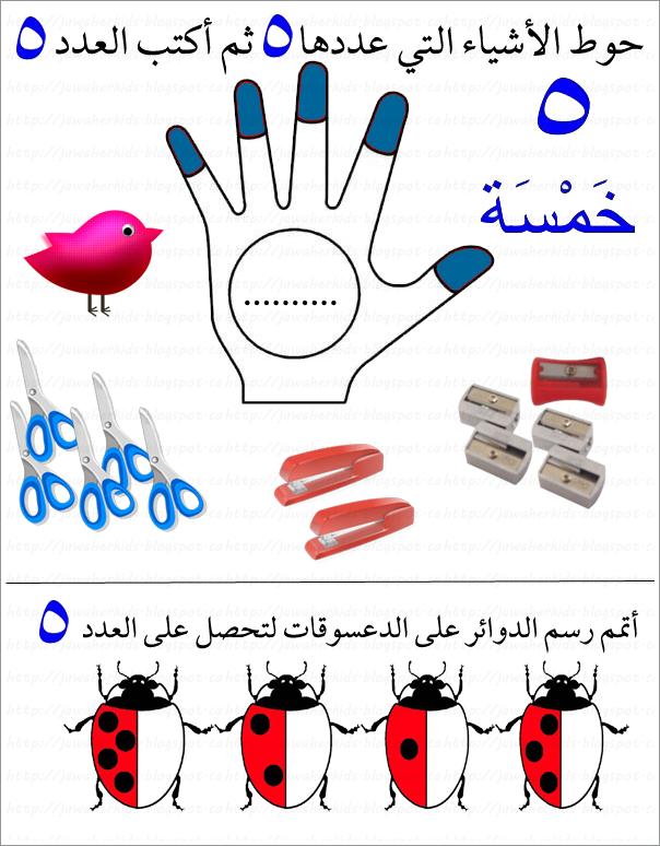 لبيب و لبيبة أوراق عمل الرقم خمسة كتابة عربية Arabic Kids Arabic Alphabet Letters Educational Crafts