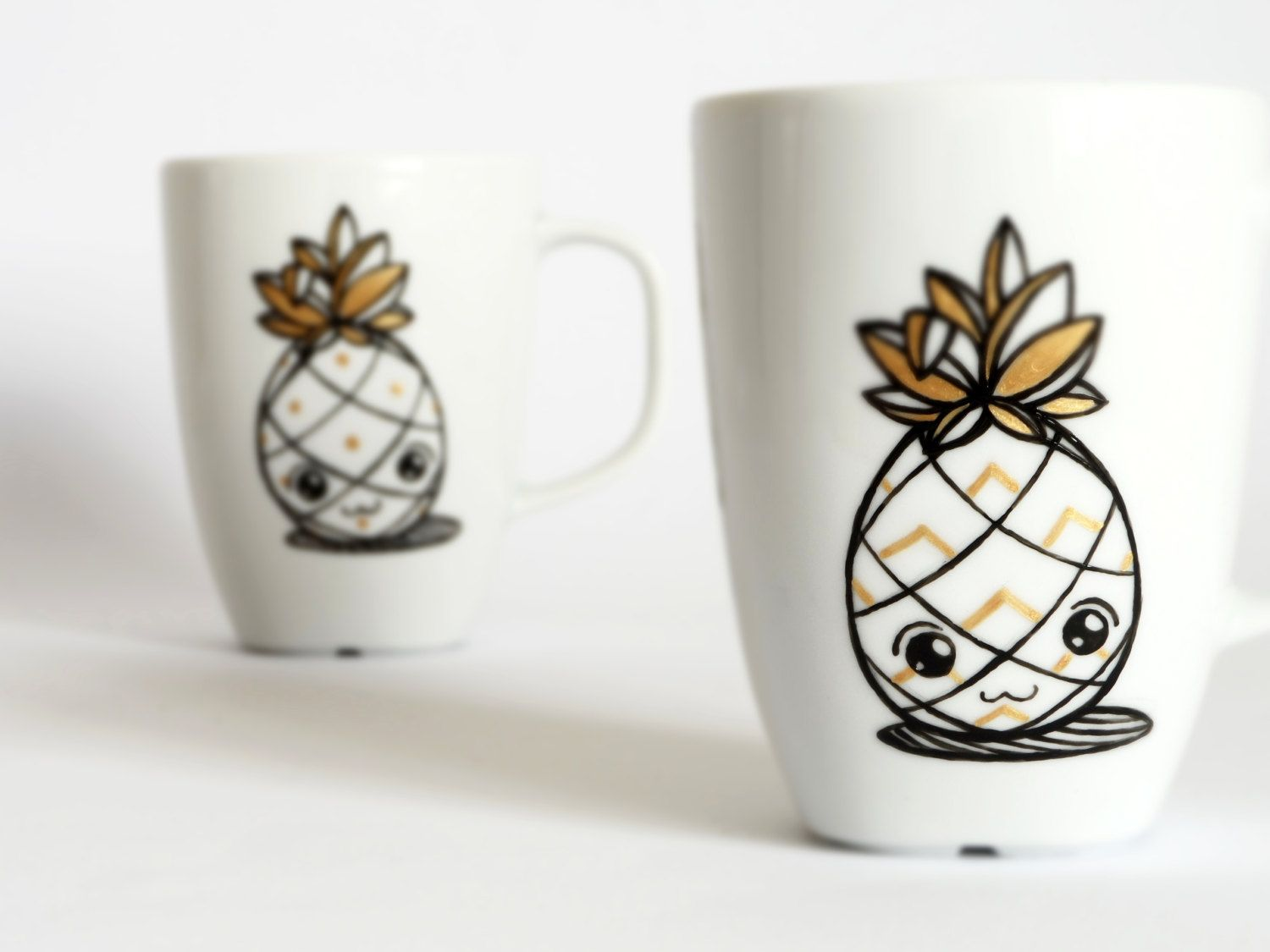 pineapple mug pineapples coffee mug contemporary mug white and  - pineapple mug  pineapples coffee mug  contemporary mug  white and blackminimalist design
