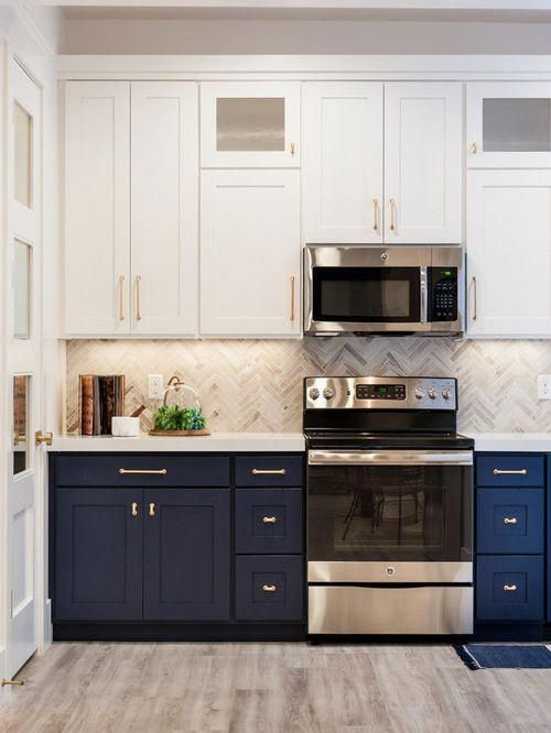 White cabinets on top, blue on bottom # ...