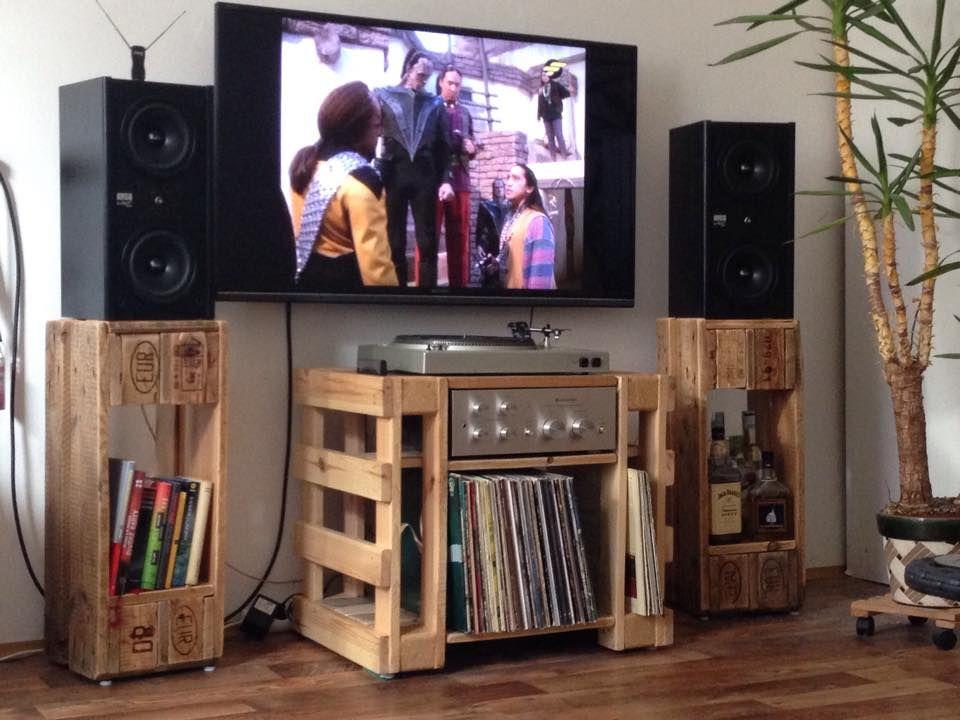 Turntable Hi Fi Lp Table Speaker Stands 1001 Pallets Meuble Hifi Meuble Vinyle Meuble Tele En Palettes