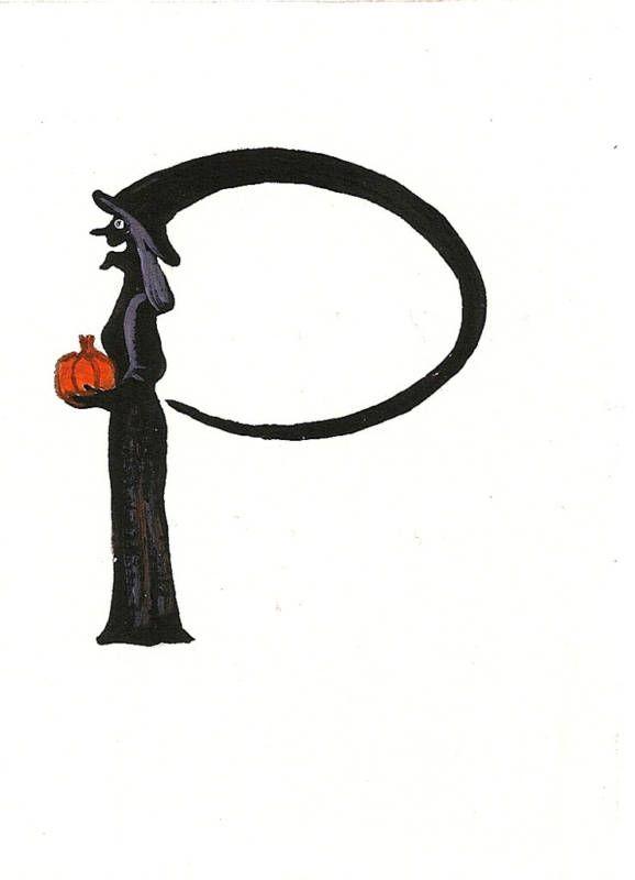 Halloween Alphabet Letter R Cat Witch Ryta: P .... DE PAULA