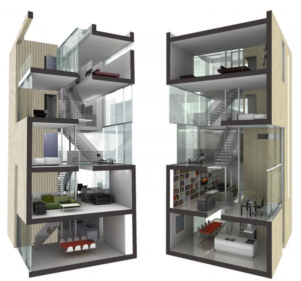 Tower house casas prefabricadas render secciones tiny - Casas prefabricadas minimalistas ...