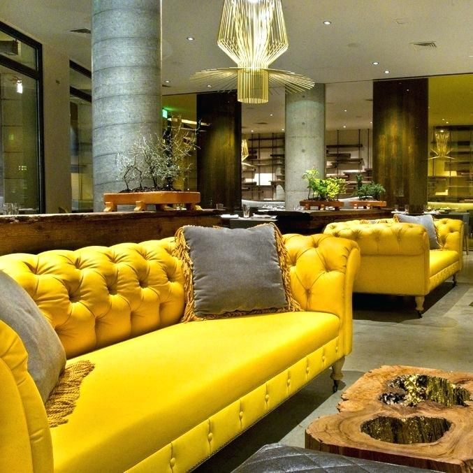 Yellow Leather Sofa Heavenly Paint Color Modern Is Like Decor Chesterfield For