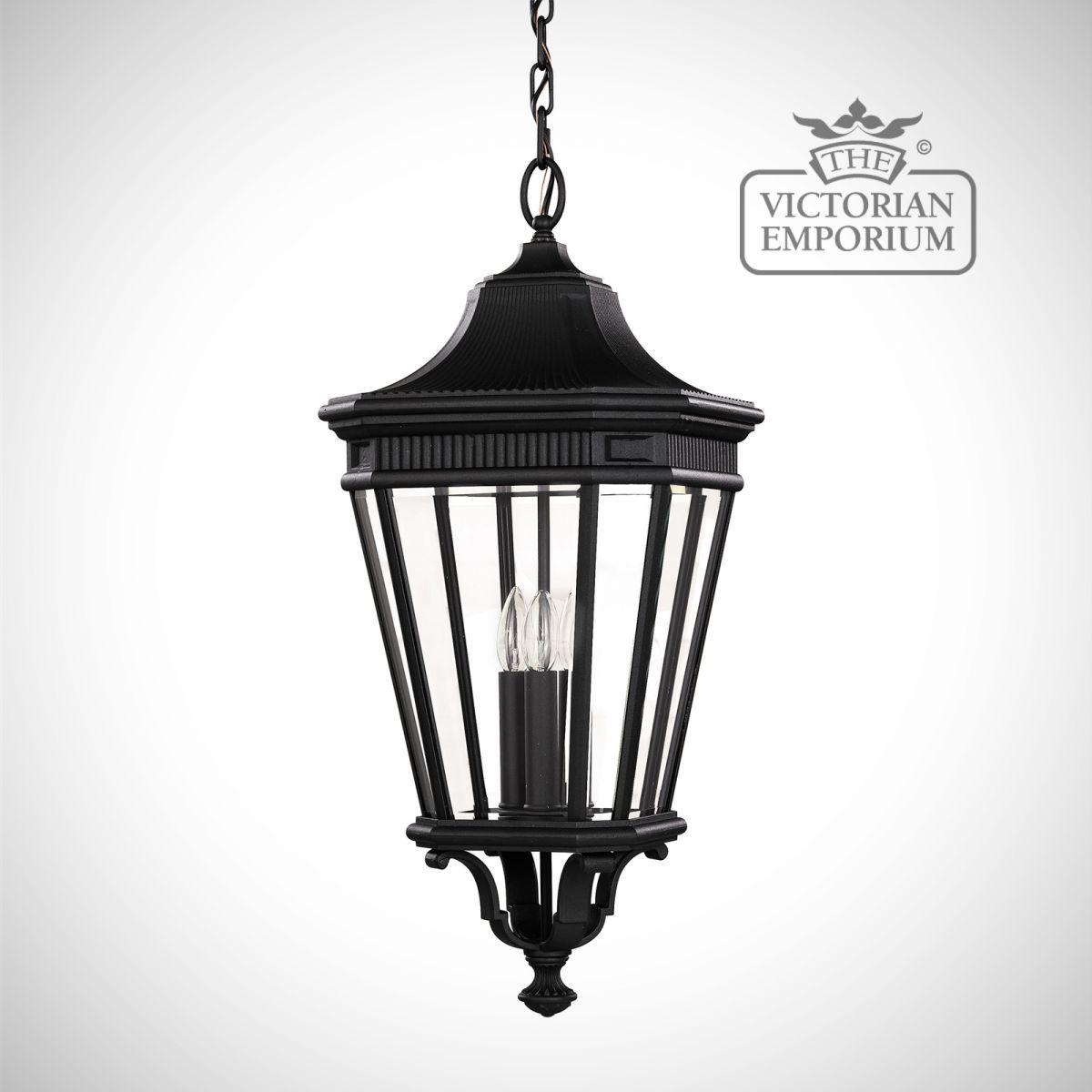 Buy cotswold large chain lantern in black exterior ceiling lights buy cotswold large chain lantern in black exterior ceiling lights this large chain aloadofball Image collections