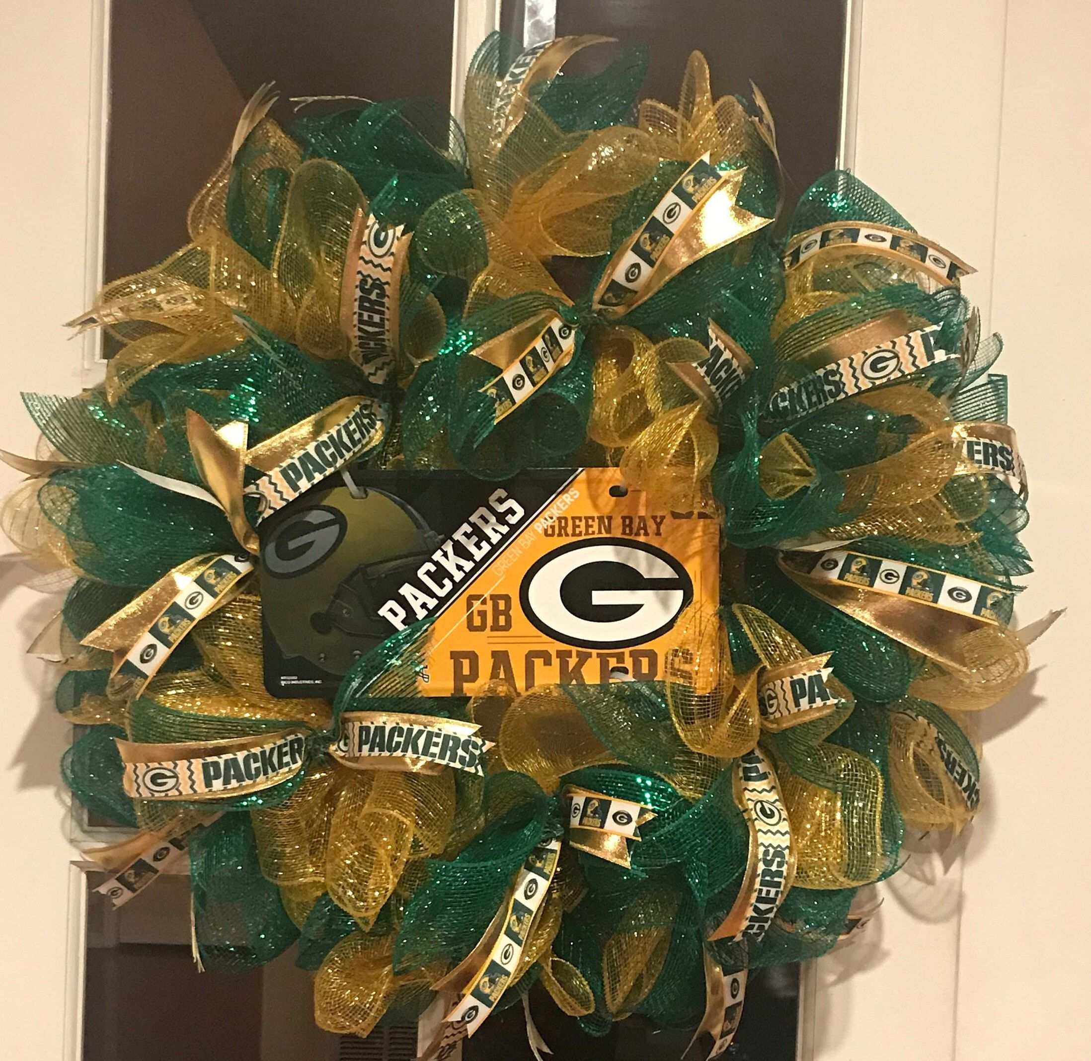 Green Bay Packers Wreath Green Bay Packers Nfl Team Etsy Packers Wreath Green Bay Packers Wreath Fall Deco Mesh Wreath