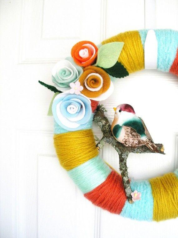 wrapped yarn and felt wreath
