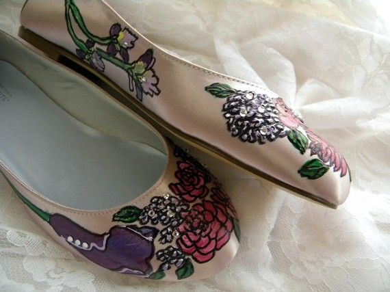 Wedding Floral painted flats crystals and flowers by norakaren, $225.00