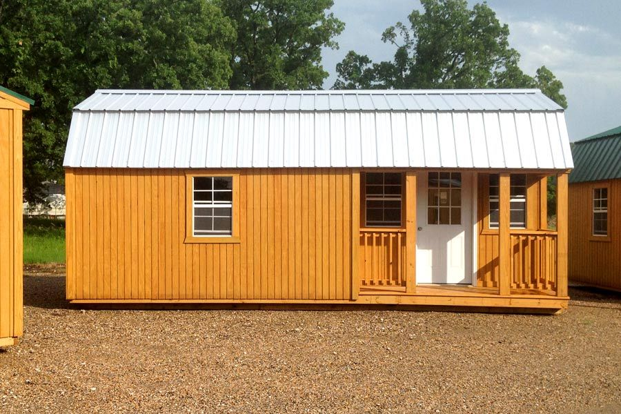 A cute 12x24 Corner Porch Lofted Barn Cabin! Comes in many