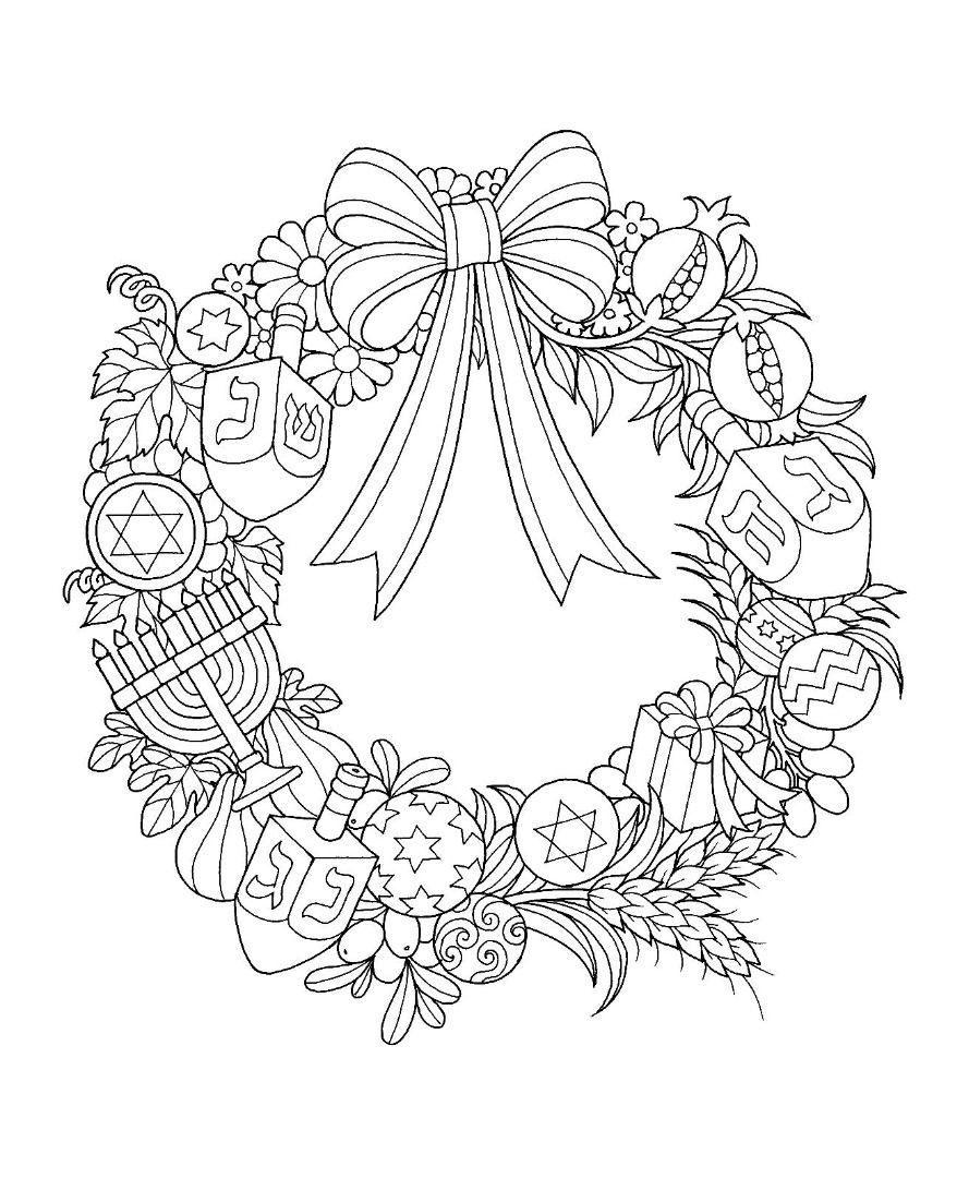 Hanukkah Wreath Coloring Page Coloring Pages