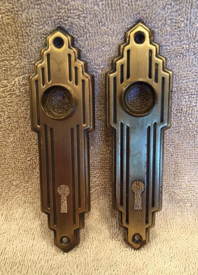 Vintage Pair St&ed Brass Art Deco Door Knob Back Plates Escutcheons NOS?? & Vintage Pair Stamped Brass Art Deco Door Knob Back Plates ... pezcame.com