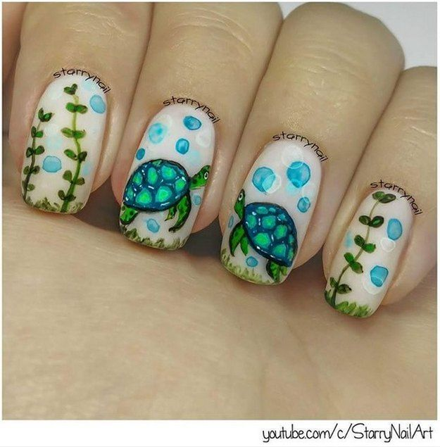 Handpainted Sea Turtle | Cutest Animal Nail Art Designs You'll Fall In Love  With - 25 Cutest Animal Nail Art Designs You'll Fall In Love With Nails