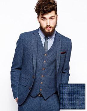 Agrandir ASOS - Veste de costume cintrée motif pied-de-poule - Bleu ... 2085747dccb