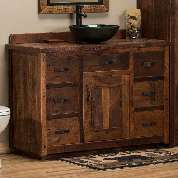Timber Frame Barnwood Vanity With Double Sinks Clear Finish