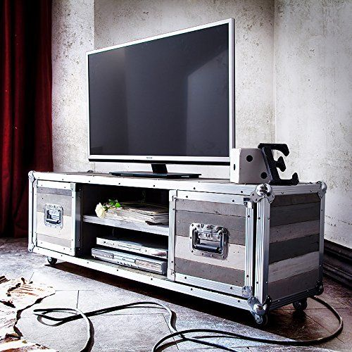 TV Lowboard Seoul Tisch Schrank Massivholz Vintage Retro Shabby Style Grau  Alu Moebella® Http: