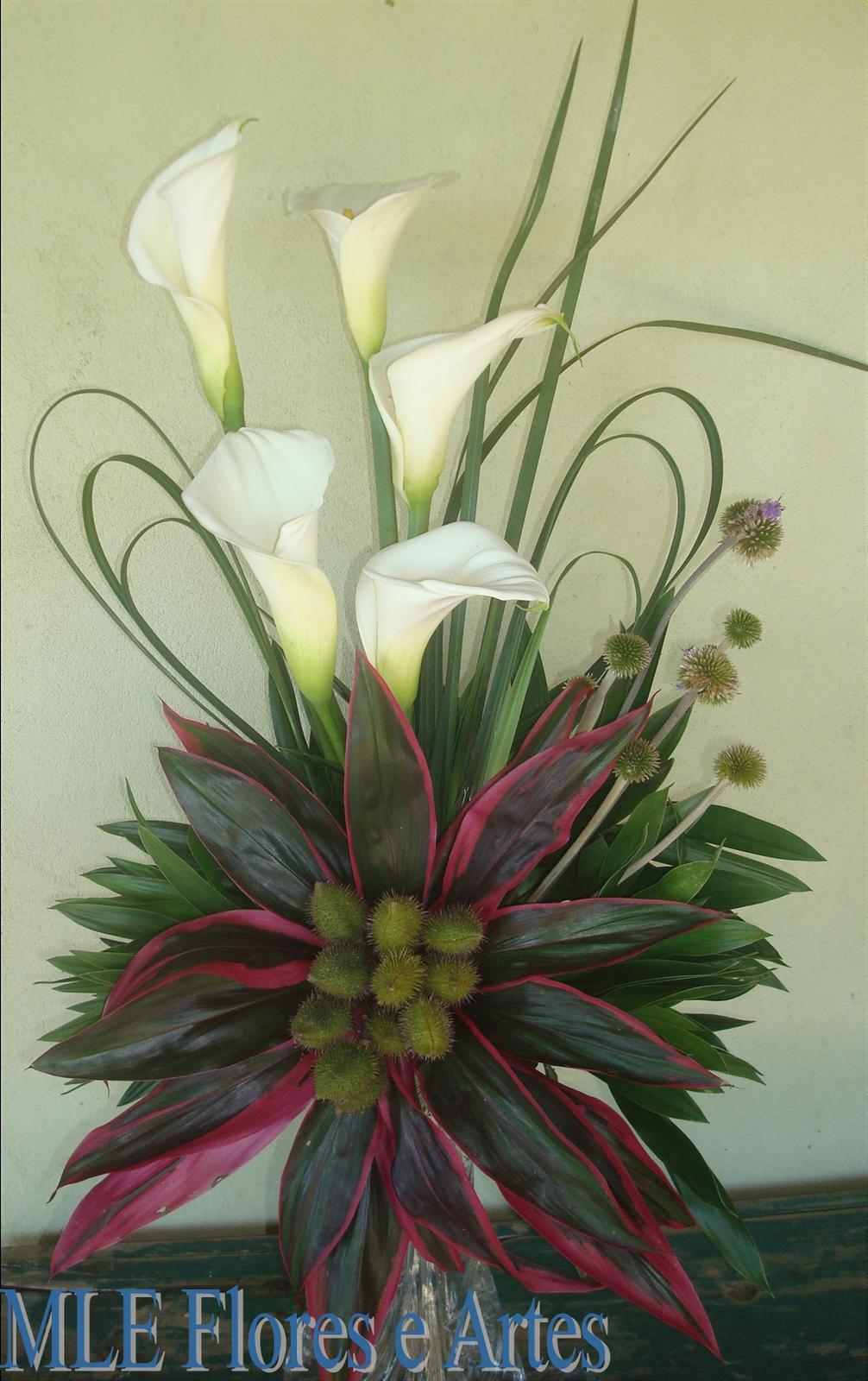 MLE ARTES E FLORES DECORAÇÃO FLORAL: Copo-de-leite e flor com folhas ...
