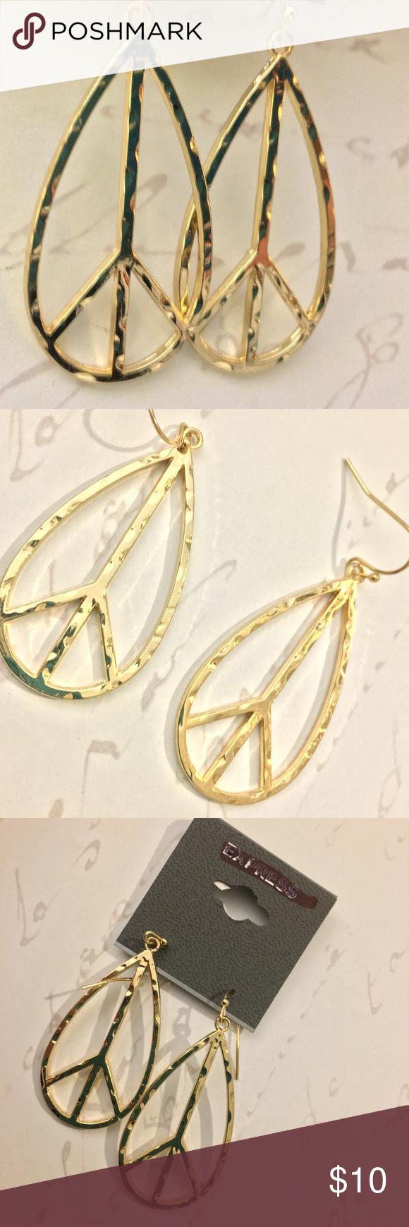 Download EXPRESS Teardrop Peace Sign Drop Earrings NWT | Earrings ...