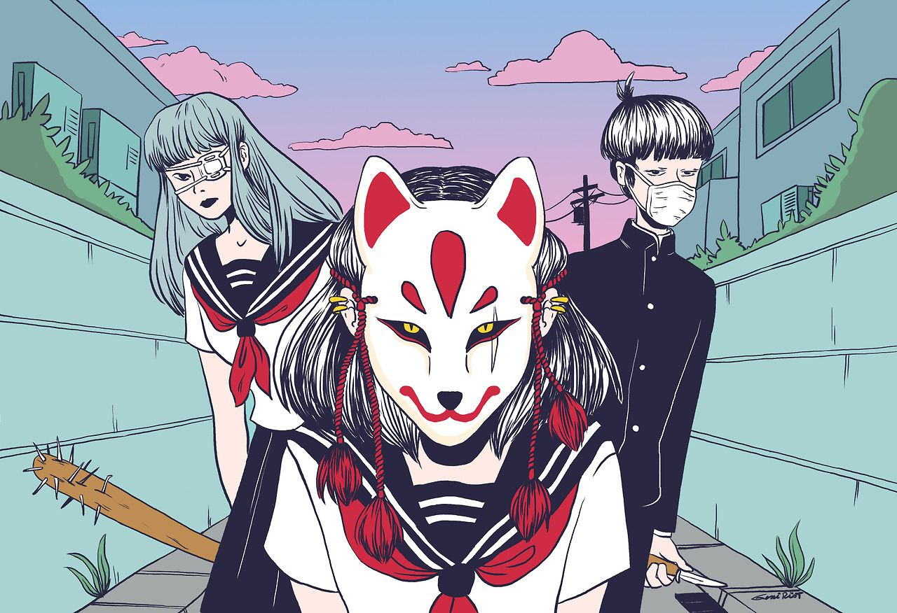 Kabuki Mask Illustration Art Manga Art