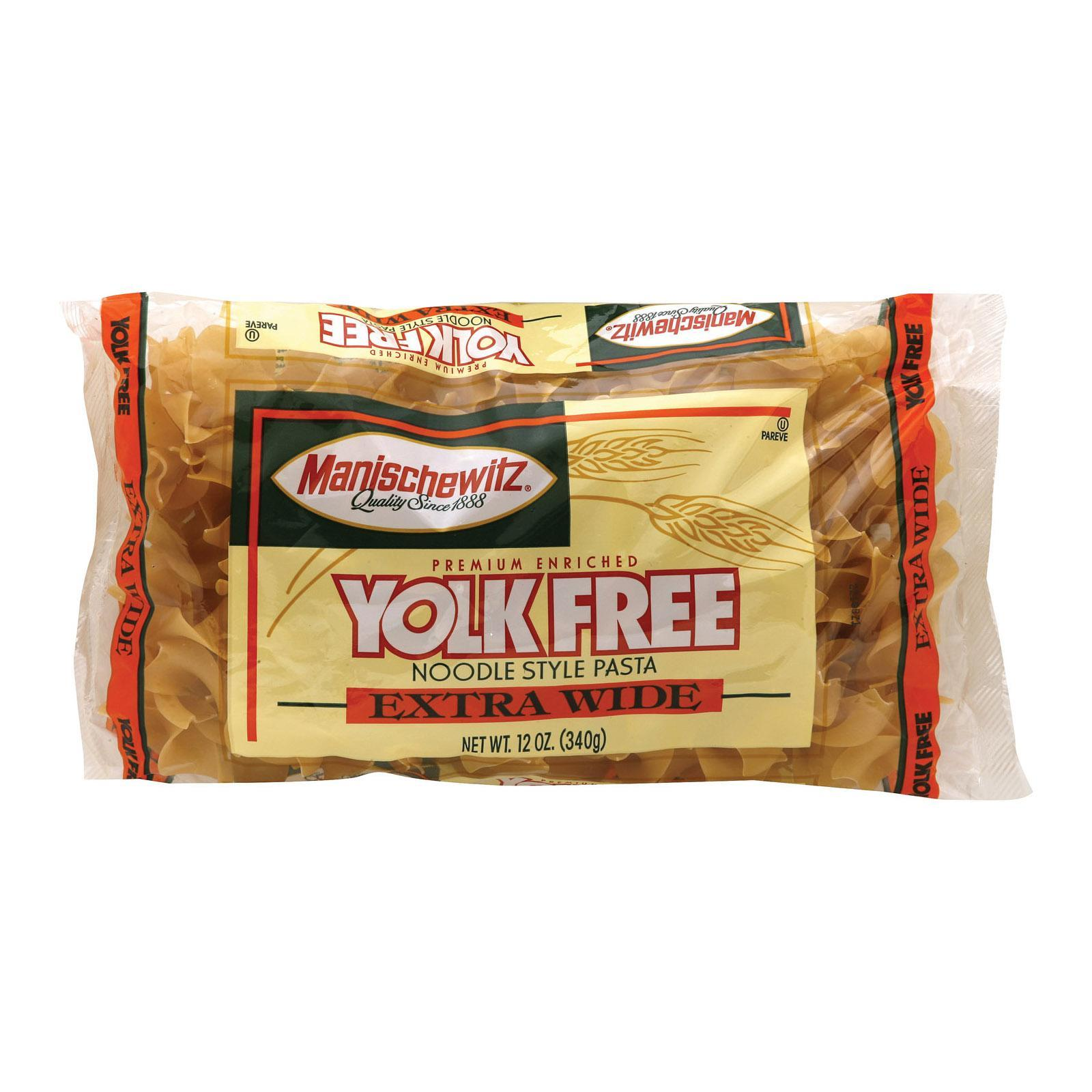 Manischewitz Extra Wide Yolk Free Noodles - Case Of 12 - 12 Oz.