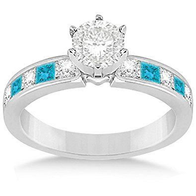 White and Blue Diamond Engagement Ring and Wedding Band Princess Cut Channel Set in Platinum  | Home