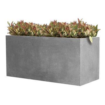 Jardiniere En Fibre Rectangulaire Beton Coloris Gris 60x30x30 Cm Leroy Merlin Jardiniere Beton Pot De Fleurs Fibre