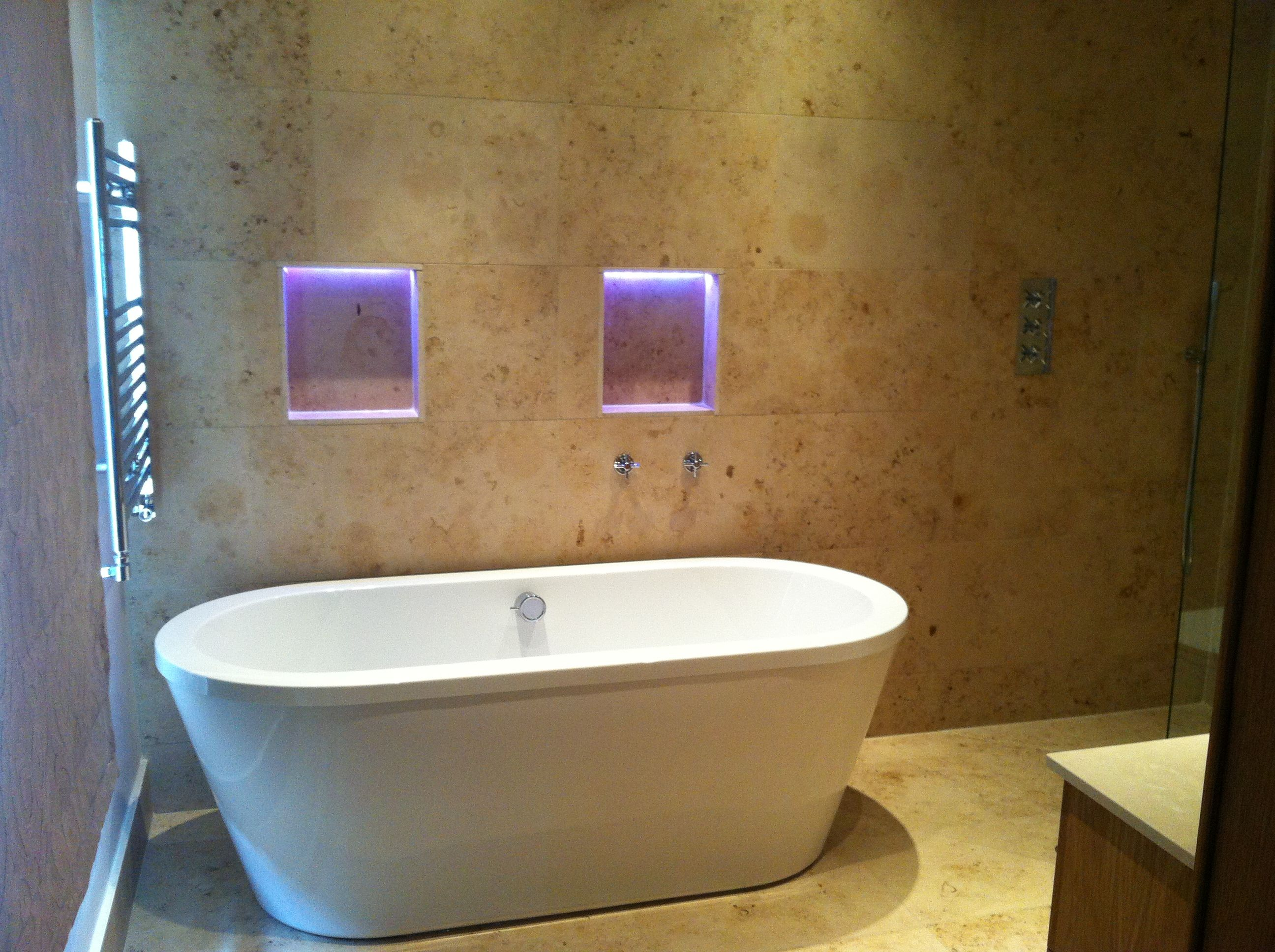 Freestanding bath with mood lighting and overflow bath filler ...