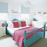 Child's vibrant pink and turquoise bedroom