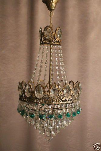 Antik Kristall Kronleuchter Lüster Lampe Chandelier Messing Bonze Old  Gewerbe | EBay Shabby Chic Chandelier,