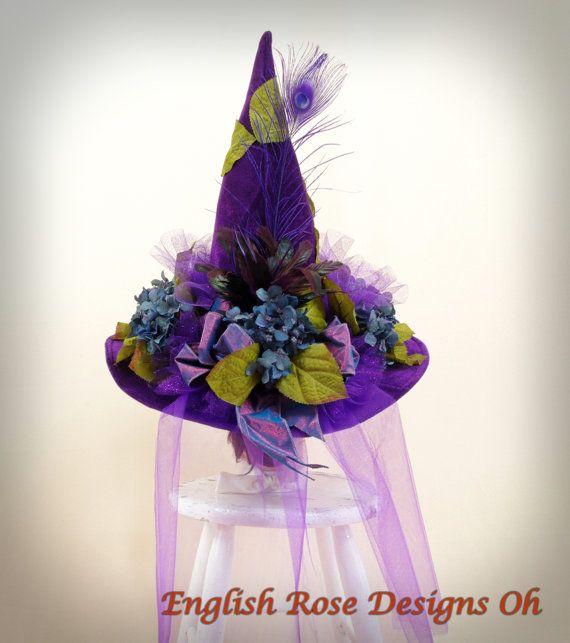 Hydrangea Witch Hat * Purple Witch Hat * Halloween Costume * Wicked Witch * Halloween Decor * Englishrosedesignsoh