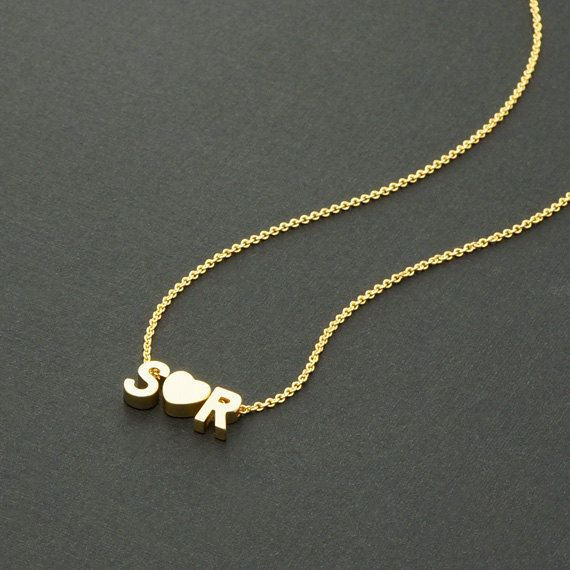 Gold Couple Initial Necklace TWO letters 16K Gold by ...