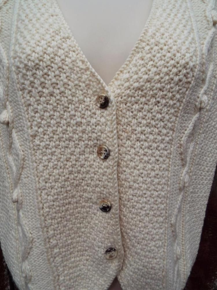 Orvis Cable Knit Cream Sweater Vest Button Front 100% Wool Medium M #Orvis