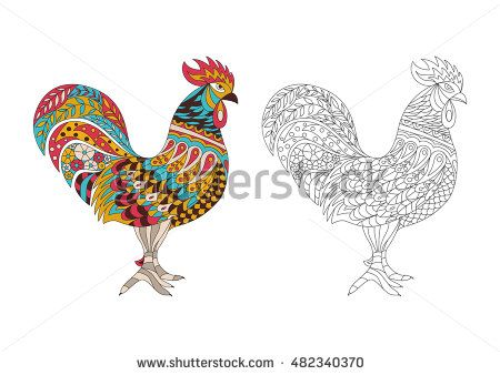Printable Coloring Book Page For Adults Rooster Design