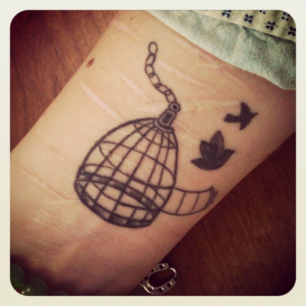 Bird cage tattoo free hope self harm bird tattoo for Still breathing tattoo