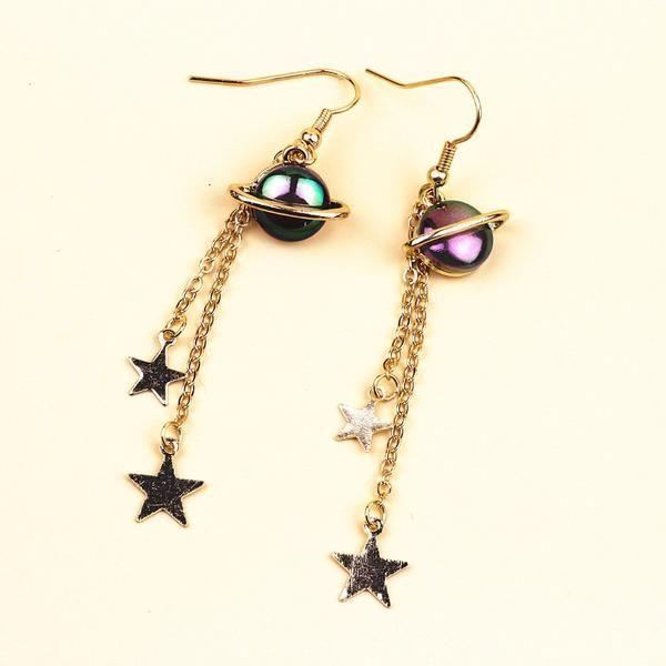 f532a0f41 Planet & Star Drop Earrings - Shop Minu (earrings) Korean Aesthetic Asian  Women's Fashion
