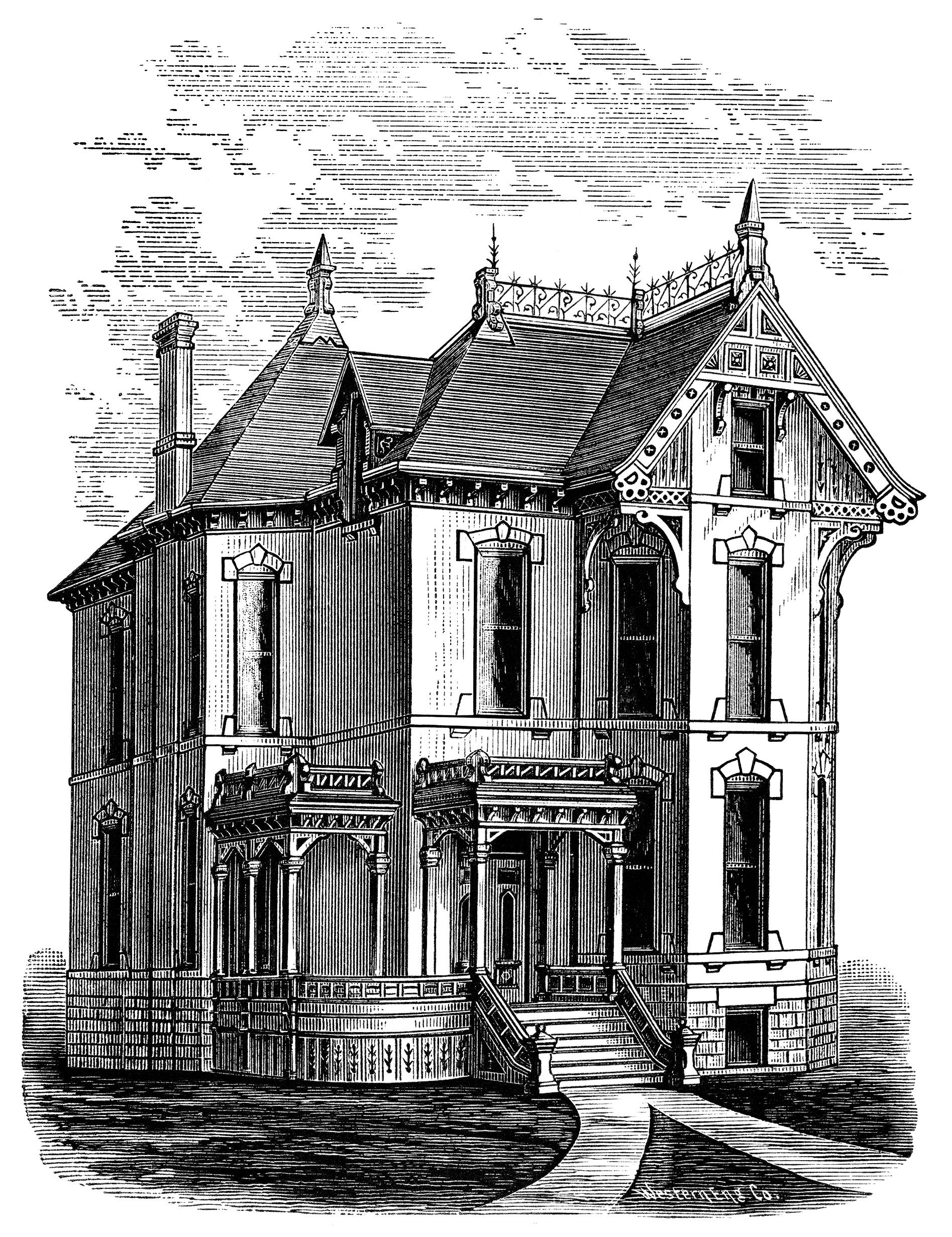 Victorian Home Clip Art, Haunted House Illustration
