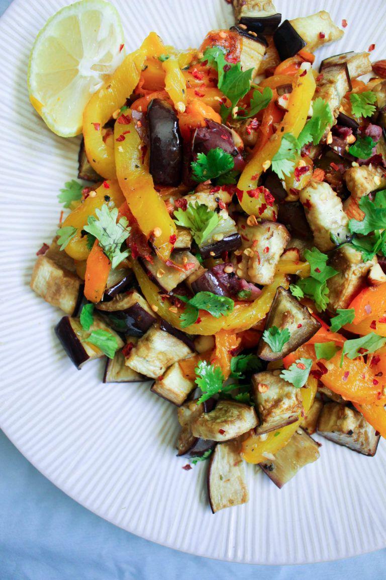 Roasted Bell Pepper & Eggplant Salad #bellpepperrecipes
