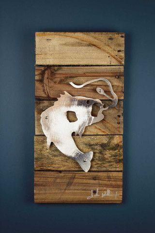 Bass fish reclaimed wood shaped metal art