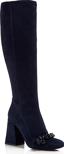 51f56d970 Tory Burch Addison Suede Square Toe Knee Boots - BOOTS - Tory Burch - Royal  Navy. Tory Burch Addison Suede Square Toe Knee Boots  footwear  ToryBurch   shoes ...