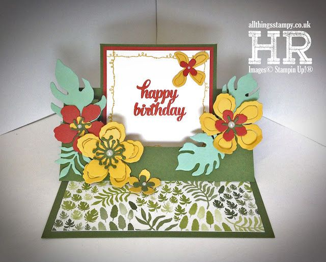 Around The World Blog Hop And Botanical Blooms Swing Easel Card Tutorial Card Tutorial Paper Crafts Cards Birthday Cards For Women