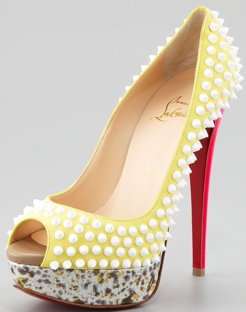 594875de6be Christian Louboutin 'Lady Peep Spikes' Platform Pumps in Canary ...