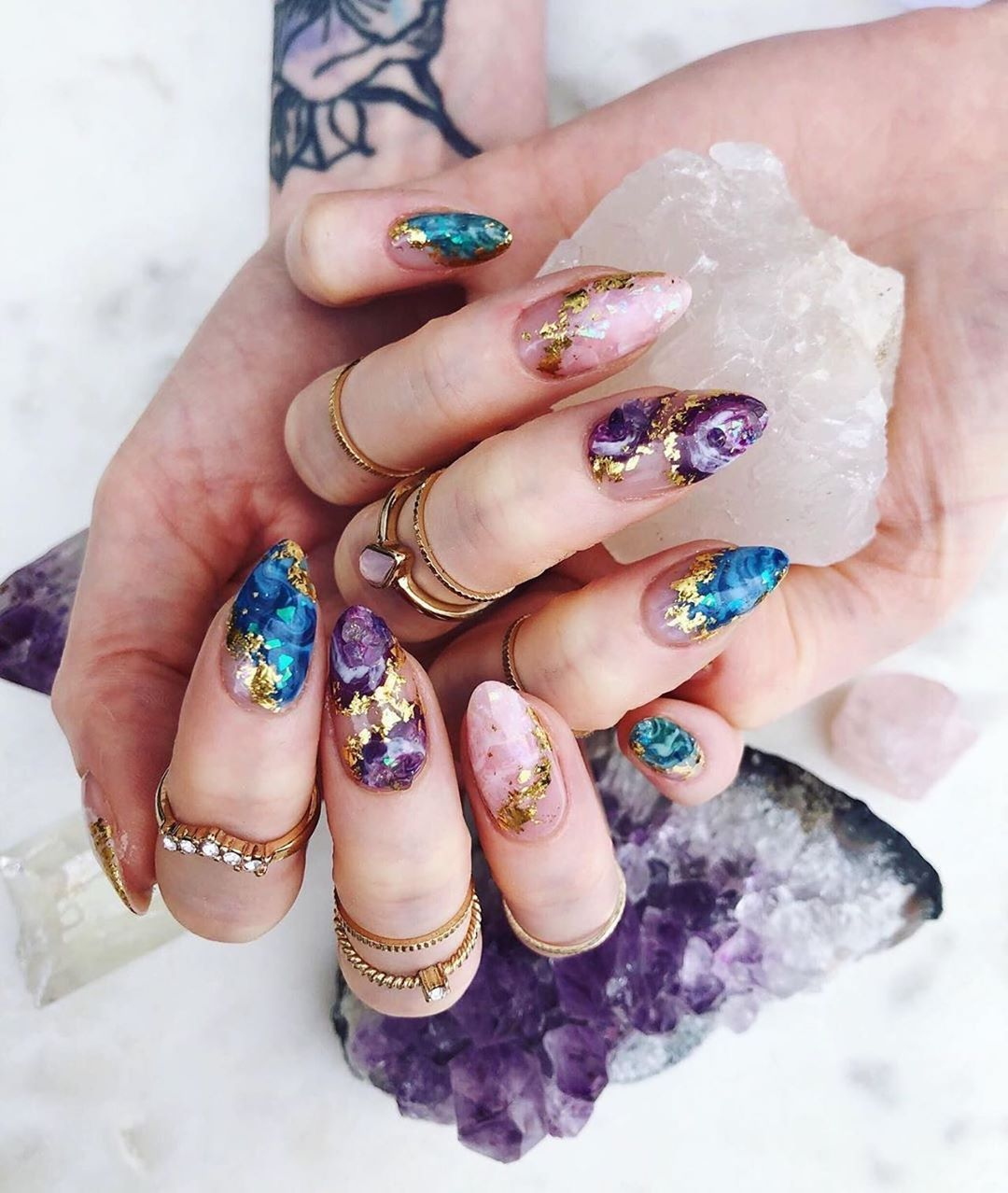 Lunar Spell On Instagram Beauty Credits Buffcsjen Witch Witchcraft Wicca Nailsart Nails Cry In 2020 Witchy Nails Crystal Nails Makeup Nails Designs