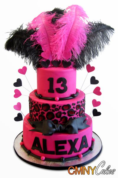 fondant cakes with feathers  Alexas Fuschia and Black Feathers