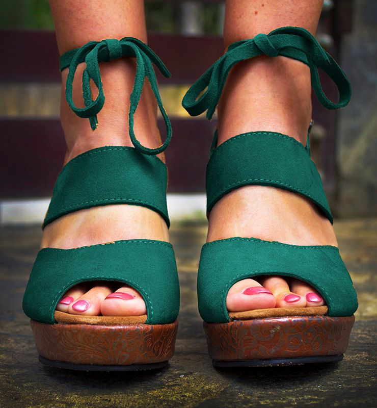 Emerald Floral Platform Wedges