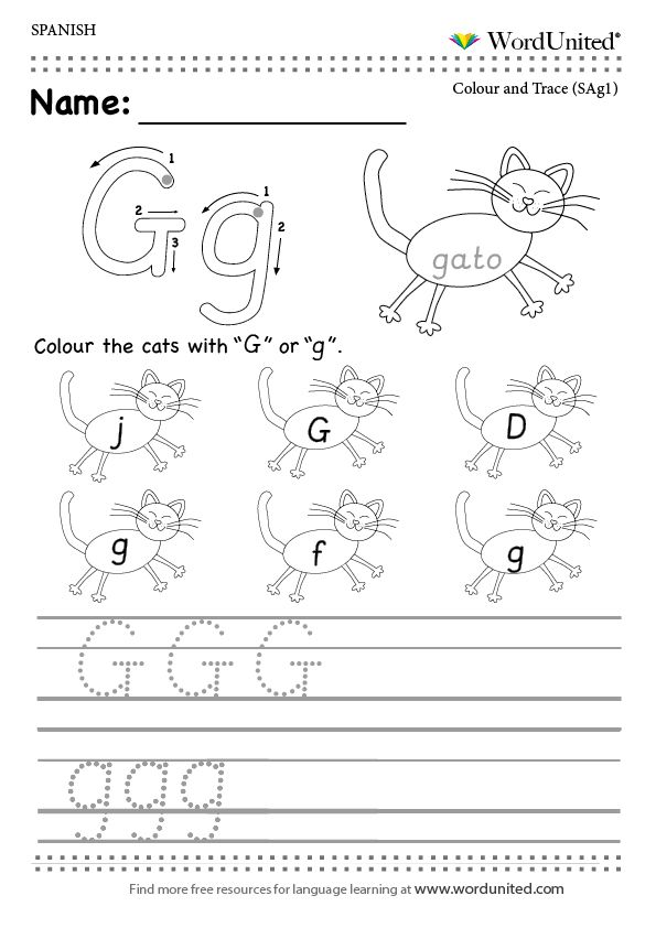 read and write the spanish alphabet wordunited free worksheet mfl spanish alphabet g gato. Black Bedroom Furniture Sets. Home Design Ideas
