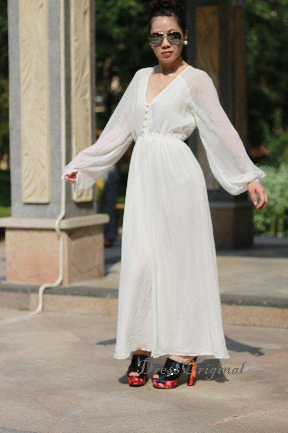 Long Sleeve White Maxi Dress White Chiffon Dress White Holiday Dress