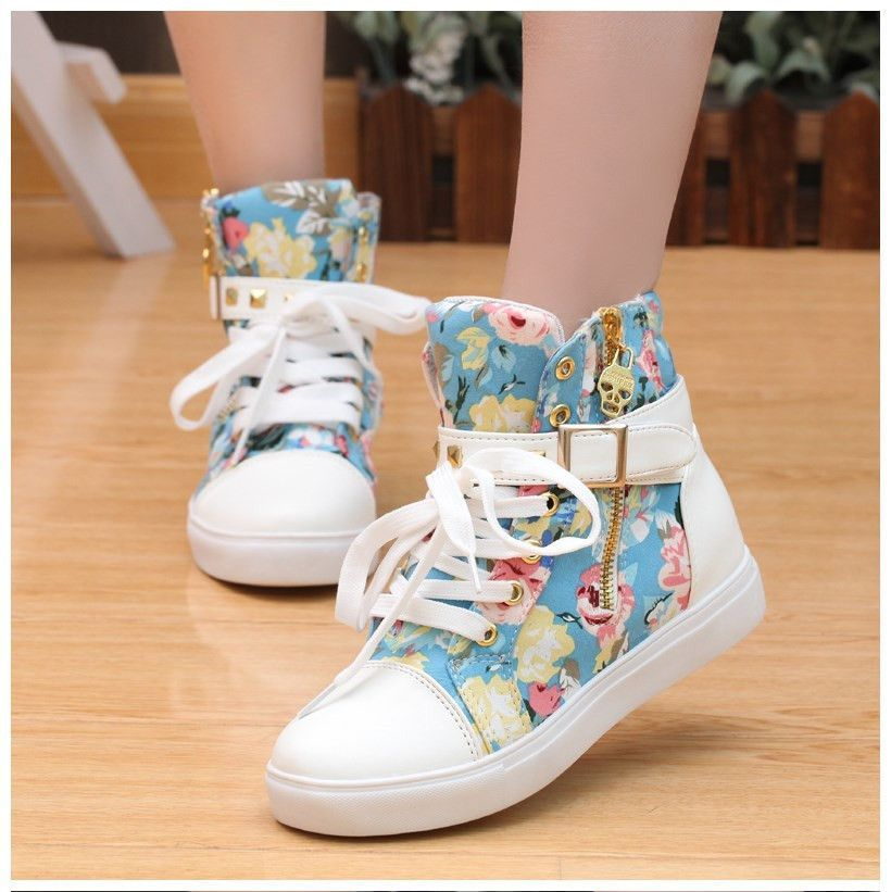 4e3d03084f30b Cute Floral Print Skull Lace Up High Cut Women Sneakers