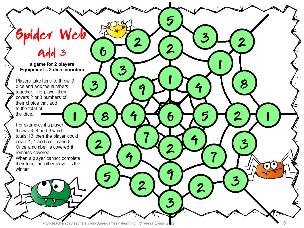 Addition Game From Spiders Addition And Subtraction Math