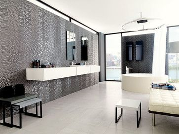 Wave Grey Metallic Tile Installed From Porcelanosa This 3 Dimensional Porcelain Tile From Porcelanosa Has A Metallic Wall Tiles Wall Tiles Ceramic Wall Tiles