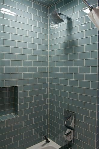 Bathroom Remodel Glass Tile ocean glass subway tile | blue glass tile, tile showers and ocean