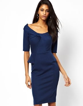 ASOS Peplum Dress With Knot Neck Detail