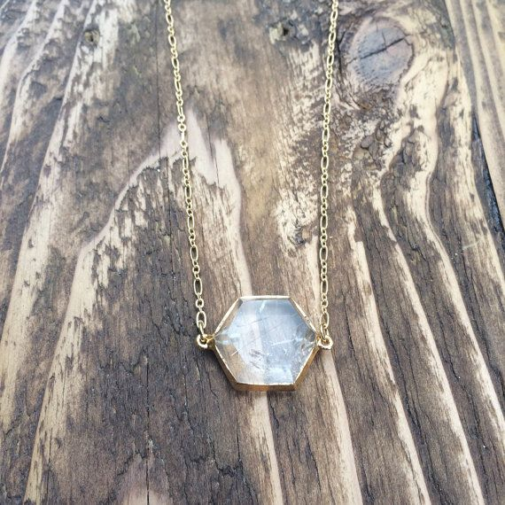 Hexagon rutilated quartz necklace by LittleRadCo on Etsy